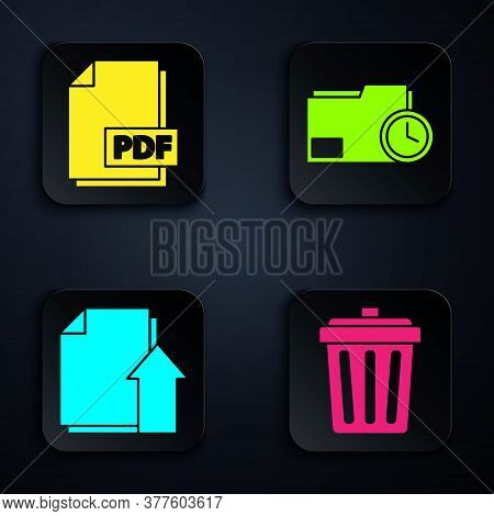 Set Trash Can, Pdf File Document, Upload File Document And Document Folder With Clock. Black Square