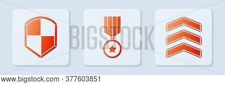 Set Military Reward Medal, Shield And Military Rank. White Square Button. Vector