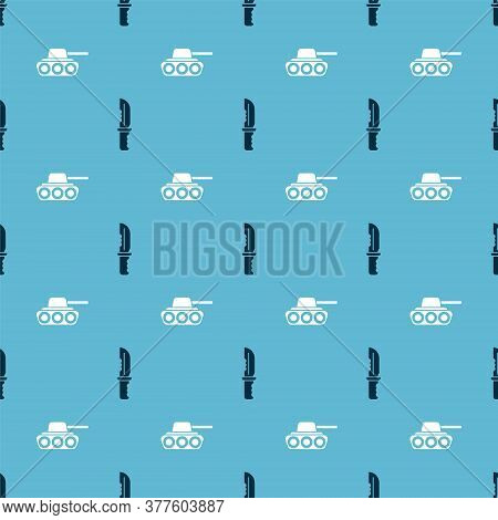 Set Military Knife And Military Tank On Seamless Pattern. Vector
