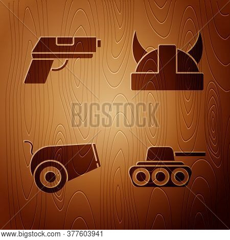 Set Military Tank, Pistol Or Gun, Cannon And Viking In Horned Helmet On Wooden Background. Vector
