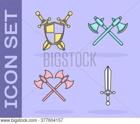 Set Medieval Sword, Medieval Shield With Crossed Swords, Crossed Medieval Axes And Crossed Medieval