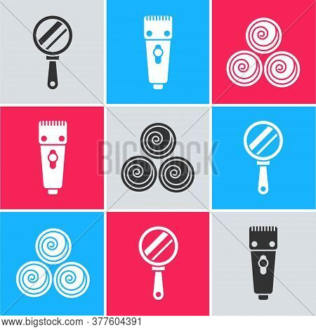 Set Hand Mirror, Electrical Hair Clipper Or Shaver And Towel Rolls Icon. Vector