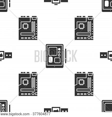 Set Smartwatch, Graphic Tablet And Motherboard On Seamless Pattern. Vector