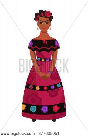 Beautiful Latine Mexican Woman Character In Traditional Ethnic National Dress Clothes Decorated With