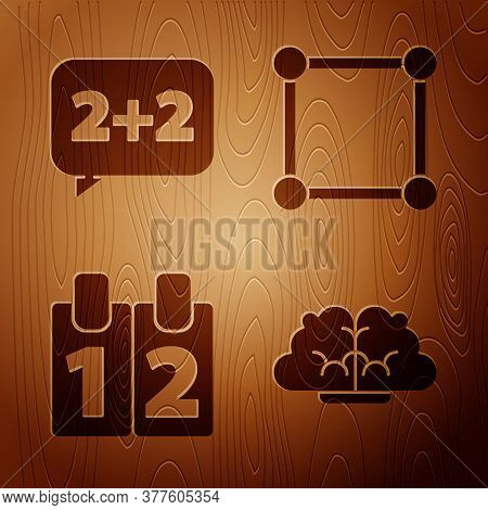 Set Human Brain, Equation Solution, Calendar And Geometric Figure Square On Wooden Background. Vecto