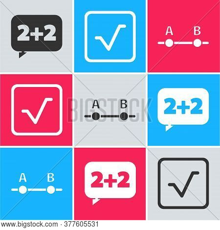 Set Equation Solution, Square Root And Graph, Schedule, Chart, Diagram Icon. Vector