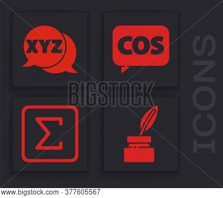 Set Feather And Inkwell, Xyz Coordinate System, Mathematics Function Cosine And Sigma Symbol Icon. V