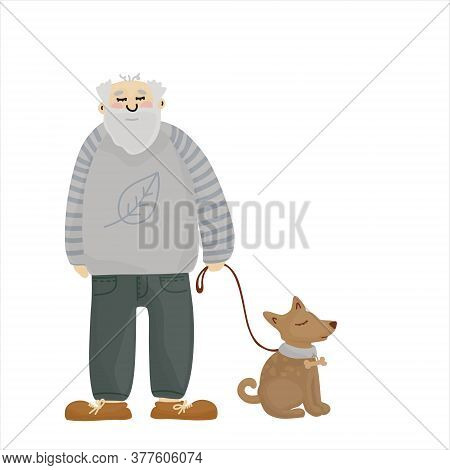 Retired Man In A Hay Sweater. Grandfather With A Dog. Old Man With Gray Hair And A Beard.