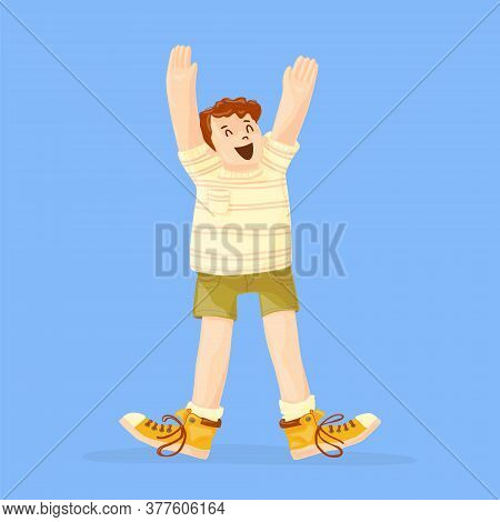 The Happy Guy Raised His Hands To The Top In Delight And Joy. Copy Space.