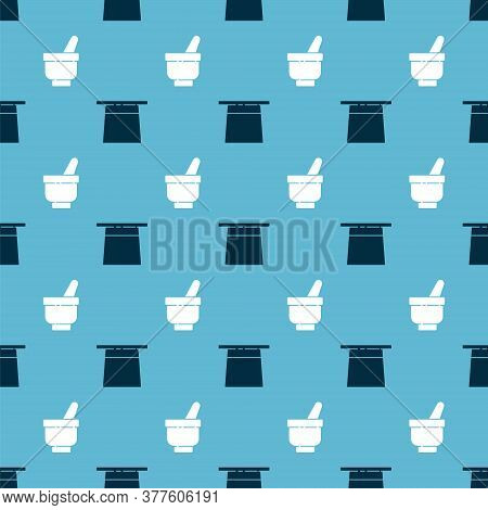 Set Magician Hat And Magic Mortar And Pestle On Seamless Pattern. Vector
