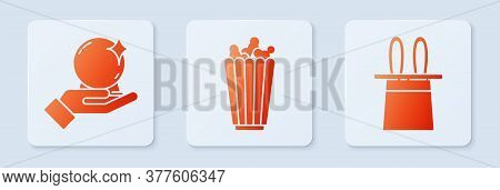 Set Popcorn In Box, Magic Ball On Hand And Magician Hat And Rabbit Ears. White Square Button. Vector