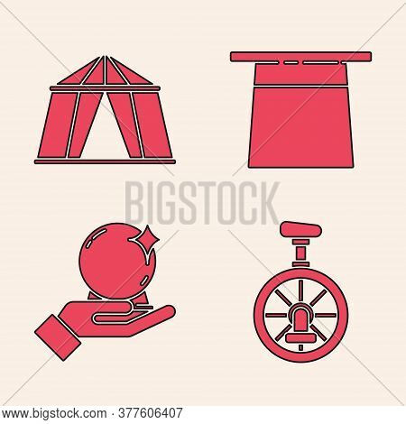 Set Unicycle Or One Wheel Bicycle, Circus Tent, Magician Hat And Magic Ball On Hand Icon. Vector