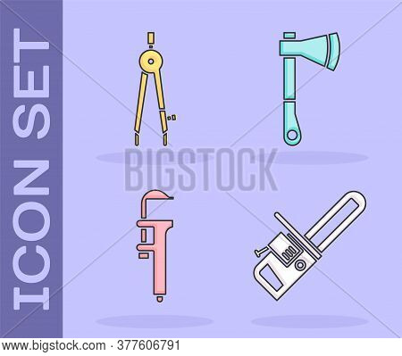 Set Chainsaw, Drawing Compass, Calliper Or Caliper And Scale And Wooden Axe Icon. Vector