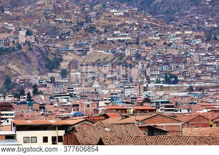 Building houses on the hill. Cuzco. Peru.