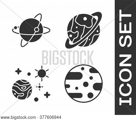 Set Planet Mars, Satellites Orbiting The Planet Earth, Space And Planet And Planet Saturn Icon. Vect