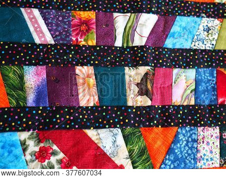 Closeup Of Beautiful Creative Colorful Textile Handmade Handcraft Patchwork Quilt