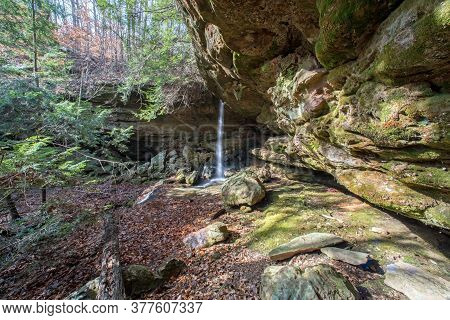 A Waterfall In The Back Country At Mammoth Cave National Park.