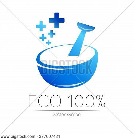 Vector Mortar And Pestle Blue Symbol Logo With Few Cross. Ecology Icon Concept For Medicine, Vegetar