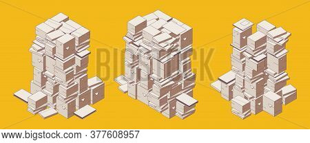 Isometric Outline Documents Lying On The Floor. Yellow Color. Mess And Deadline For Paperwork Concep