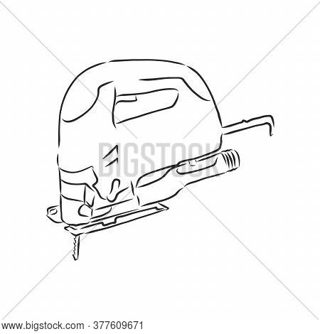 Hand Drawn Sketch Illustration Of Electric Jig Saw Vector, Electric Jigsaw, Vector Sketch Illustrati