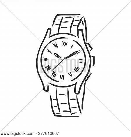 Sketch Wrist Watch Isolated On White Background, Wrist Watch, Vector Sketch Illustration