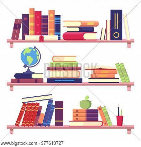 Book Shelves With Stack Of Books And Other Objects As Binder, Globe, Apple And Pencils. Home Library