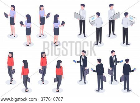 Business People Isometric Set. Man And Woman Office Worker In Elegant Formal Clothes Holding Devices