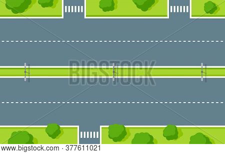 Empty Highway Top View. Road Asphalt With Pedestrian Crossing, White Dashed Stripes, Lightning And G