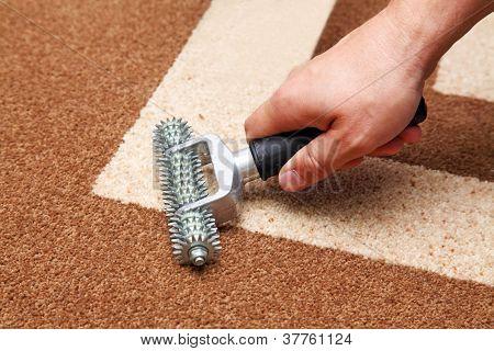 Installation des Teppichs