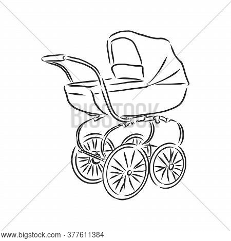 Vector Illustration Of Children Strollers On White Background. Baby Stroller, Vector Sketch Illustra
