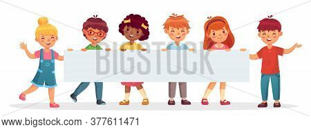 Kids Holding Big Blank Banner. Cheerful Diverse Children Laughing And Smiling. Template For Advertis