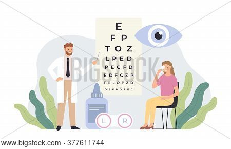 Ophthalmologist Checking Vision. Eye Healthcare Test, Ophthalmology Diagnostics And Professional Oph