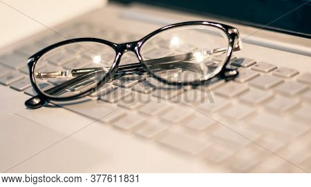 Eye Glasses On Office Computer Keyboard, Close Up Eye Glasses, Office Computer, Gray Tone, Fashion G