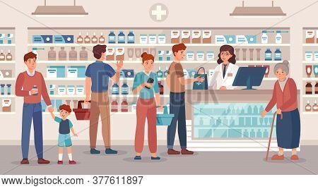 Pharmacy Store. Pharmacist Sells Various Medications People, Medical Consultation And Buying Medicat