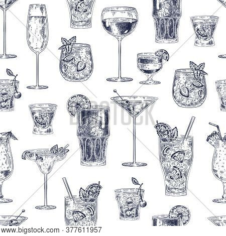 Cocktail Seamless Pattern. Hand Drawn Alcohol Drinks Cocktails With Different Glasses And Goblets Wa