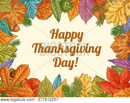 Happy Thanksgiving. Hand Drawn Colorful Fall Leaves. November Holidays Thanksgiving Design For Cards