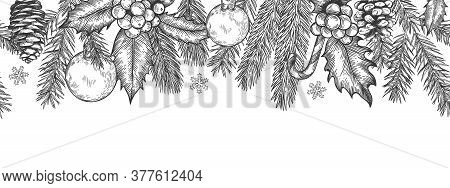Xmas Seamless Green Border. Horizontal Banner With Christmas Tree Branches Garland, Holly Berries An