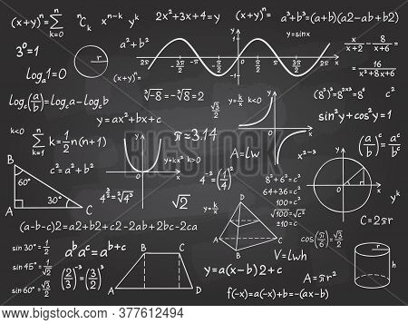 Math Formula. Mathematics Calculus On School Blackboard. Algebra And Geometry Science Chalk Pattern