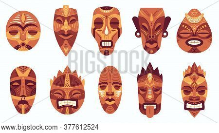 Ethnic Masks. Traditional Ritual, Ceremonial African, Hawaiian Or Aztec Mask With Ethnic Carnival Or
