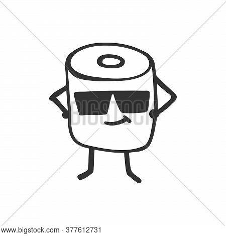 Toilet Paper Sticker Boss Fame Illustration Background. Grunge Texture. Banner Design.