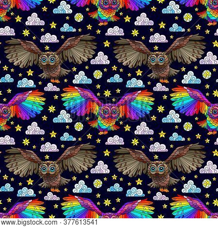 Seamless Pattern With Owls, Stars And Clouds On A Dark Dark Background