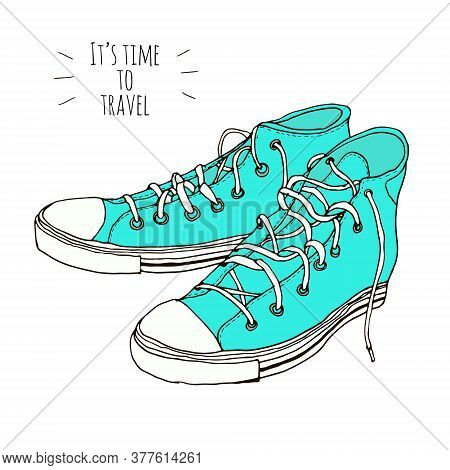 Classic Mint, Turquoise Hand Drawn Vintage Hipster Sneakers Isolated On White Background. Vector Ill