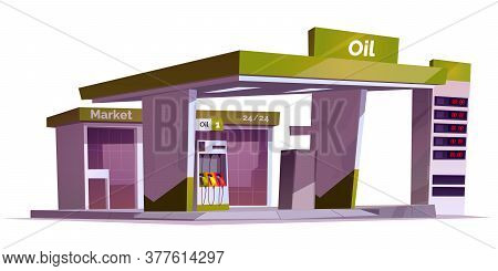 Gas Station With Oil Pump, Market And Prices Display. Vector Cartoon Illustration Of Empty Fuel Fill