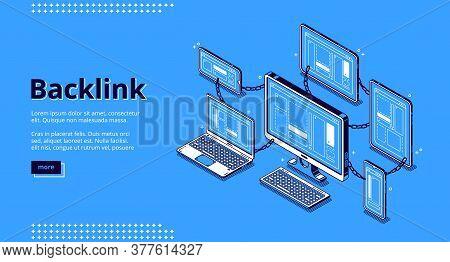 Backlink Banner. Concept Of Building Hyperlink System, Cooperation Of Websites, Seo Optimization. Ve