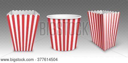 Striped Bucket For Popcorn, Chicken Wings Or Legs Mockup Isolated On Transparent Background. Empty R