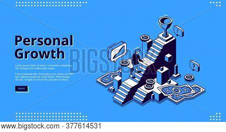 Personal Growth Banner. Concept Of Self Build Career, Development, Professional Progress. Vector Lan