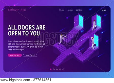 Choice, Career Ladder Isometric Landing Page. Business Opportunity, Way To Success. Businessman Choo
