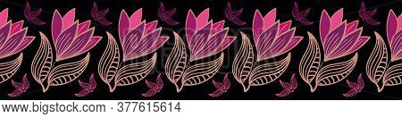 Row Of Vibrant Violet Flowers Vector Border. Decorative Surface Print Design For Decorating Cards, I