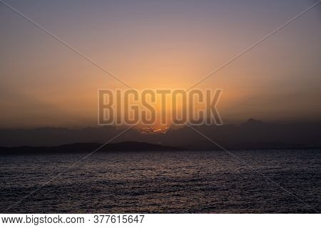 Twilight, Dusk Cloudy Sky Over Sea Water, Dark Land Horizon