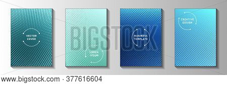 Creative Circle Screen Tone Gradation Cover Page Templates Vector Kit. Industrial Magazine Faded Scr